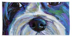 Bath Towel featuring the painting Cute Shih Tzu Face by Robert Phelps