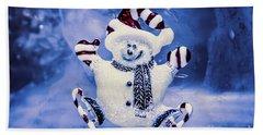 Cute Snowman In Ice Skates Bath Towel