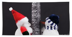 Cute Toy Father Christmas And Snowman Under A Tree. Festive Scen Hand Towel