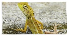 Cute Yellow Lizard Hand Towel