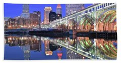Hand Towel featuring the photograph Cuyahoga River Blue Hour by Frozen in Time Fine Art Photography