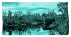Hand Towel featuring the photograph Cyan Dreaming - Sarasota Pond by Madeline Ellis