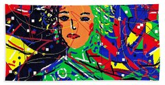 Hand Towel featuring the digital art Cyberspace Goddess by Natalie Holland