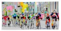Cycling Down Main Street Usa Bath Towel