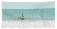 Cycling The Beach Hand Towel