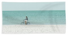 Cycling The Beach Bath Towel