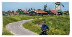 Cyclist At Zaanse Schans Hand Towel