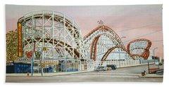 Cyclone Rollercoaster In Coney Island New York Bath Towel