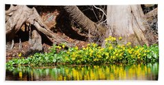 Cypress And Flower Reflections Hand Towel