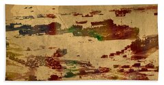 D Day Landing At Normandy France World War Two Watercolor On Old Canvas Map Of War Plans Hand Towel