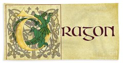 D Is For Dragon Page Gold Hand Towel by Donna Huntriss