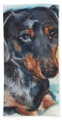 Dachshund Portrait In Watercolor Hand Towel by Maria's Watercolor