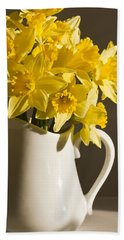 Daffodil Filled Jug Hand Towel by Sandra Foster