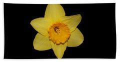 Daffodil In Black Bath Towel