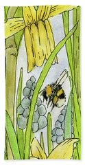 Daffodils And Bees Hand Towel