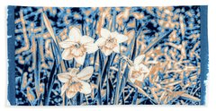 Daffodils In Print Bath Towel by Rena Trepanier