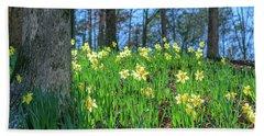 Daffodils On Hillside 2 Bath Towel