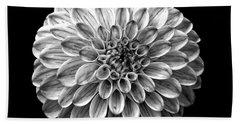 Dahlia  Flower Black And White Square Hand Towel