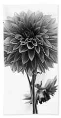 Dahlia In Black And White Bath Towel by Mark Alder