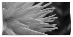 Dahlia Petals In Black And White Bath Towel