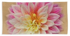 Bath Towel featuring the photograph Dahlia With Golden Background by Mary Jo Allen