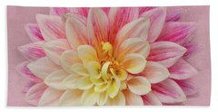 Bath Towel featuring the photograph Dahlia With Pink Texture by Mary Jo Allen