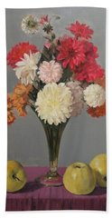 Dahlias And Golden Delicious Apples Hand Towel