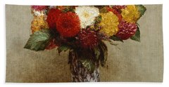 Dahlias In A Chinese Vase Hand Towel
