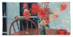 Dahlias With Red Cup Hand Towel