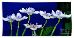 Dainty White Irises All In A Row Hand Towel by Kaye Menner