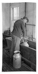 Dairy Farmer At Work Hand Towel