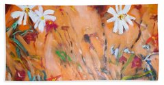 Bath Towel featuring the painting Daisies Along The Fence by Winsome Gunning