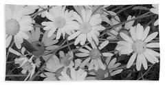Daisies Black And White Bath Towel by Christine Lathrop
