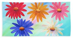 Hand Towel featuring the painting Daisies by Elizabeth Lock