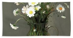 Daisies In A Water Pitcher On A Wood Beam Bath Towel