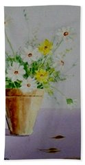 Hand Towel featuring the painting Daisies In Pot by Jamie Frier