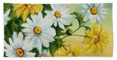 Bath Towel featuring the painting Daisies In The Sky by Sorin Apostolescu