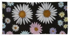 Daisies On Black Hand Towel