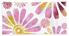Daisies Watercolor Silhouette  Hand Towel