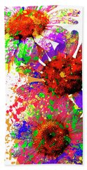 Daisy Abstract Bath Towel by Ron Grafe