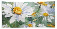 Daisy Delight Palette Knife Painting Hand Towel by Chris Hobel