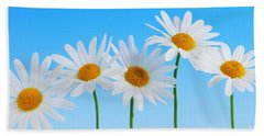 Daisy Flowers On Blue Hand Towel