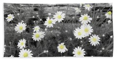 Hand Towel featuring the photograph Daisy Patch by Benanne Stiens
