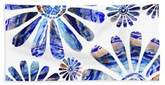 Daisy Silhouette Watercolor In Blue Hand Towel