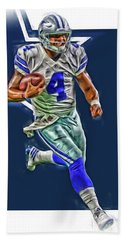 Dak Prescott Dallas Cowboys Oil Art Series 3 Hand Towel by Joe Hamilton