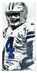 Hand Towel featuring the mixed media Dak Prescott Dallas Cowboys Pixel Art 4 by Joe Hamilton