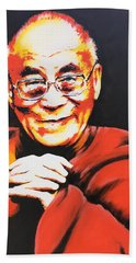 Dalai Lama Bath Towel by Victor Minca