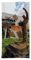 Hand Towel featuring the photograph Dale Earnhardt Statue by Paul Mashburn
