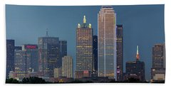 Dallas At Night Hand Towel by Jonathan Davison