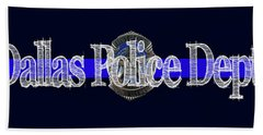 Dallas Police Dept. Blue Line Mug W Badge Image Hand Towel by Robert J Sadler